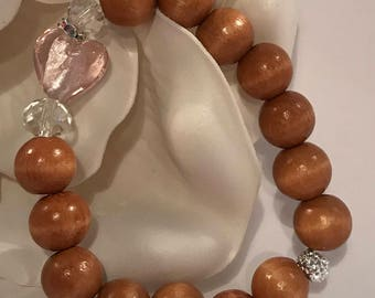 Valentines Day Special Glass Bead Strech Bracelet