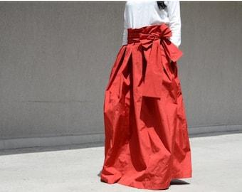 red long skirt, long skirt, HIGH WAISTED skirt, loose skirt, cotton skirt, oversize skirt, plus size skirt, casual skirt, Elegant skirt