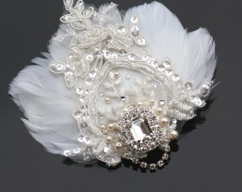 Bridal Fascinator, Wedding Feather Headpiece, Wedding Feather Fascinator, Bridal Feather Hairpiece
