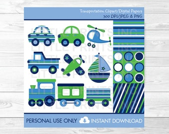 Trains & Planes Car Sailboat Airplane Helicopter Transportation Vehicles Clipart / Digital Paper PERSONAL USE Instant Download A424