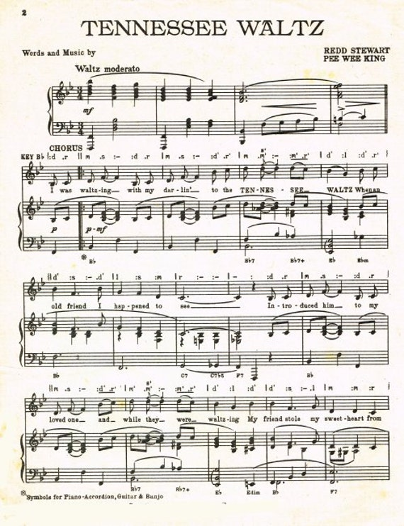 Tennessee Waltz Featured By Geraldo Sheet Music Instant