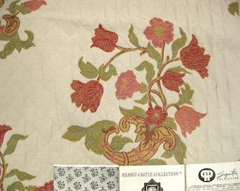 Pindler Cattadori Lampas Embroidered Designer Fabric Sample Floral Hearst Castle