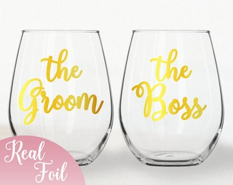 Funny Engagement Gift Gold Foil Stemless Wine Glass Set The Groom & The Boss, Bride and Groom