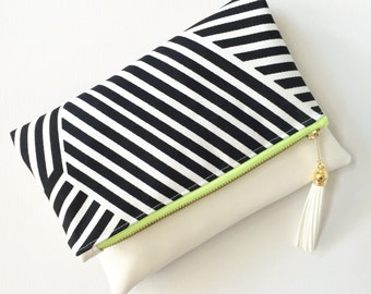Black and White Graphic Stripe Vegan Leather Foldover Tassel Clutch with Optional Crossbody Strap - Lime Green and Gold Accents
