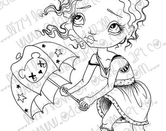 Digi Stamp Digital Instant Download Big Eye Girl ~ Stormy Image No. 13 & 13B by Lizzy Love