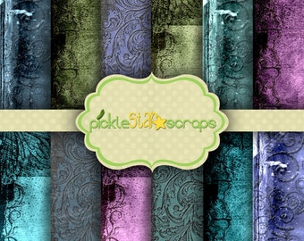 Printable Papers Bold Shabby Grunge Abela 12 Papers Digital Scrapbook Papers 12x12inch Printable Paper Backgrounds INSTANT DOWNLOAD