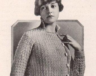 1916 Vintage Ladies Crochet Kimono Sweater, PDF Crochet Pattern, Stunning Project