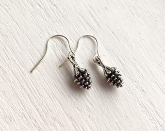 Pine cone earrings. Silver plated or Copper. Gift for girlfriend, sister, mum, grandma, best friend.