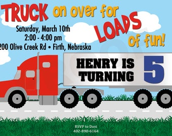 Digital File Semi Truck Invitations