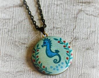 Seahorse Locket Necklace, Sea horse Necklace, Sealife Jewelry