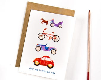 Greeting card, Handmade, Playful spirits collection, Stationary, graduation, Your way is the right way -  By Elana Mokady