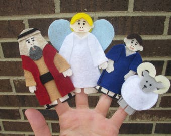 Abraham and Isaac Bible Finger Puppet Set