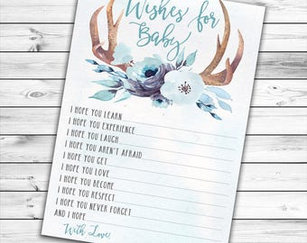 Wishes For Baby, Wishes For Baby Boy, Woodland Wishes For Baby, Deer Wishes For Baby, Well Wishes For Baby, Antler, Oh Deer, Printable Card