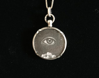 antique french all seeing eye locket sacred heart necklace