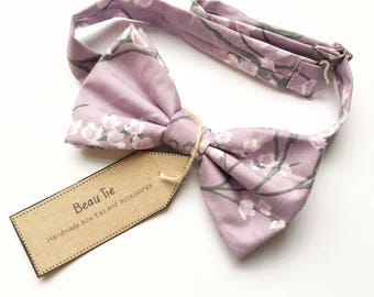 mens bow tie floral, purple bow tie, lilac bow tie, cherry blossom, floral bow tie, wedding bow tie