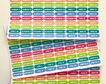 T78 || 240 Jewel Date Stickers for the 2017-2018 School Year