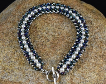 Blue and Pearl Flat Spiral Bracelet