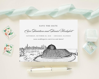 Chicago Skyline Adler Planetarium Windy City Wedding Save The Date Cards // Wedding Announcement Printed Cards with Envelopes
