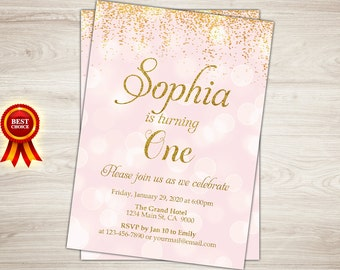 Pink and Gold birthday invitation, Gold Glitter Confetti 1st Birthday Invitation Girl Birthday Invitation, Kids birthday Printable invite