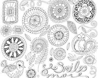 Doodle Flowers ClipArt, Boho Digital Flower Line Art, Flower Clip Art, Floral LineArt, Fantasy Flower, Spring Clip Art, Printable Digi Stamp