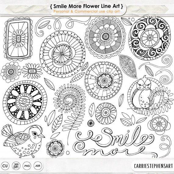 Line Art Resolution : Doodle flowers clipart boho digital flower line art