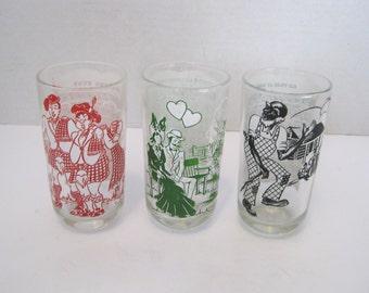 Vintage Swanky Swig Musical Song Book  Water Juice Glasses Set of 3