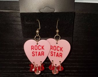 Rock star guitar pick earrings