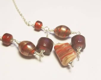 Red lampwork glass bead necklace sterling silver red necklace