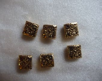 Bead, antiqued gold-plated pewter (tin-based alloy), 6x6mm Aztec square. Sold per pack of 6 beads.