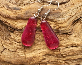 Dichroic Glass Earrings, Pink  DGE - 792