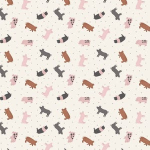 Tiny Pig Piglet Breeds Farmyard Small Things On The Farm Pigs Animal Cotton Fabric by Lewis and Irene