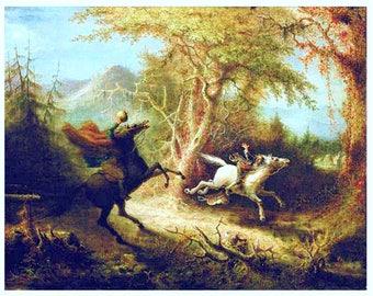 "Headless Horseman Pursuing Ichabod Crane, 1858, John Quidor, Sleepy Hallow. 11x14"" Cotton Canvas Print"