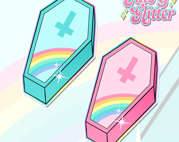 Pastel Goth, Kawaii Coffin, Choice of Colour Holographic Sticker