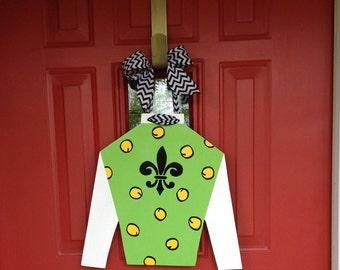 Ky Derby Jockey Silk, Ky derby door hanger, Ky derby wreath, jockey door hanger, jockey wreath, Ky derby jockey silk door hanger, Ky Derby
