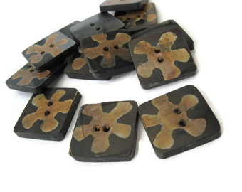 3 Square Black Bone Button Tribal Flower 22mm