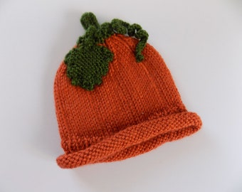 0-3 Month Pumpkin Hat, Newborn Pumpkin Hat, Knit Baby Hat, October Baby, Fall Baby, Knit Pumpkin Hat