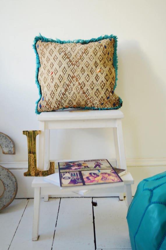 Vintage Moroccan Turquoise Trim Pattern Kilim Berber Carpet Cushions-lumbar, vintage cushions, christmas gifts, gifts, No.13, Ramadan, Eid