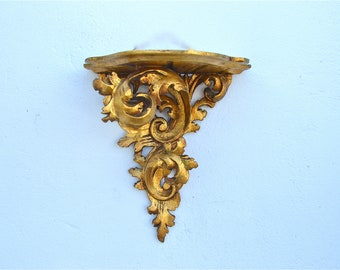 Antique hand carved gilded wooden folliate style wall sconce bracket shelf circa.1910-40