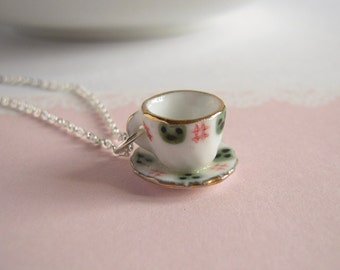 Cup Necklace, Tea Party Necklace, Tea Cup Pendant, Silver Chain, Classic Green And White