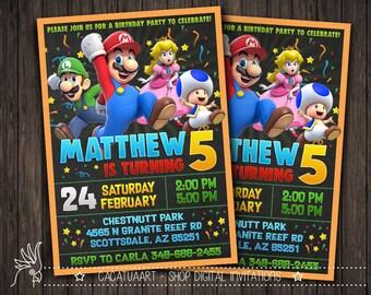 Super Mario Party Digital Invitation, Super Mario Invitation - Super Mario Birthday Party Invite - Mario Chalkboard Custom Printable Card