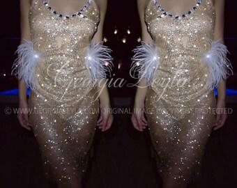 Glimmering Dress w Feathers & Swarovski