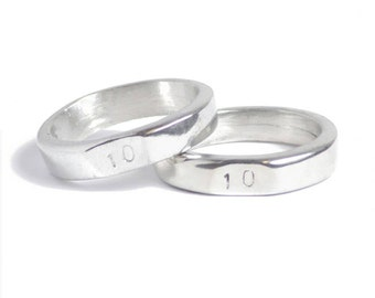 10th Wedding Anniversary Signet Rings - Stamped With 10 - Made from 100% Pure Tin