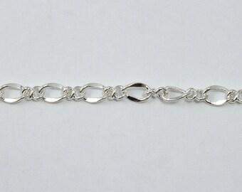 Bright Silver, 6.8mm x 4.4mm Figaro Chain #CC146