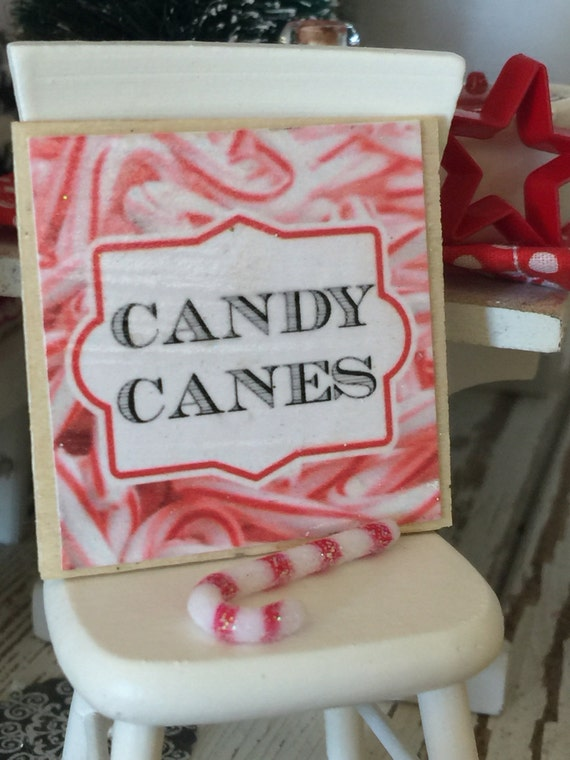 Candy Cane and Candy Cane Sign- Dollhouse Miniature