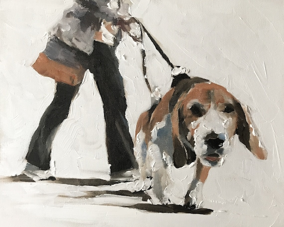 Dog Walker Painting Dog Art PRINT Dog Walker - Art Print - from original painting by J Coates