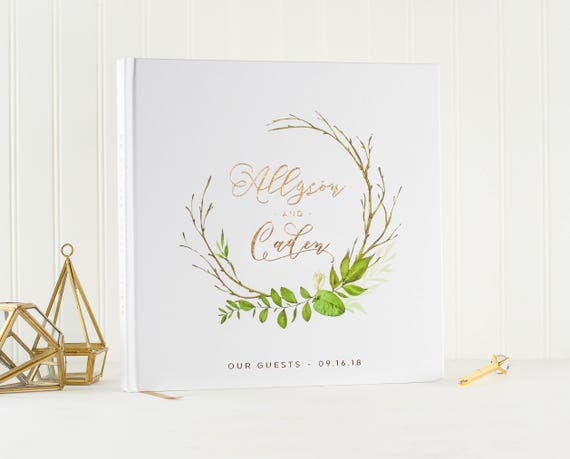 Wedding Guest Book Gold Foil wedding guestbook guest sign in book photo guest book wedding planner book botanical wreath wedding photo book