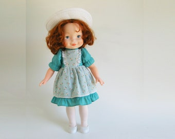 Vintage My Friend Becky Doll with 3 Outfits by Fisher Price 1981 205 1980s Original Blue dress with pinafore, Nightgown, Light Blue Dress