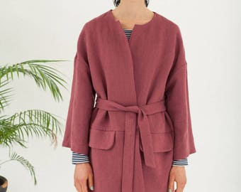 Eco friendly trench coat - Kimono jacket - Vegan clothing gifts for mom - Hemp clothing long coat