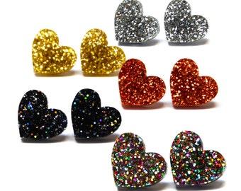 Glitter Heart Studs · I Heart You · Rainbow Glitter Heart Earrings · 13mm
