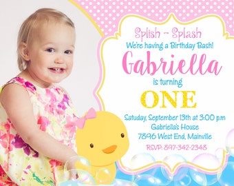 Rubbery Ducky, Duck, Birthday Party Invitation - Printable or Printed